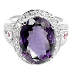 REAL AAA PURPLE AMETHYST OVAL 14X10 MM & WHITE CZ STERLING 925 SILVER RING 5.25