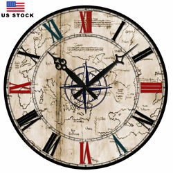 Retro Wooden Wall Clocks Room Home Store European Large Silent Working 38 cm
