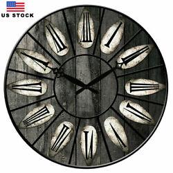Wooden Wall Clocks Large Clock Decor 38 CM Room Home Kitchen Living Retro Style
