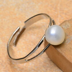NATURAL PEARL 18K WHITE GOLD PLATED RING SIZE ADJUSTABLE 6.757.257.758.25
