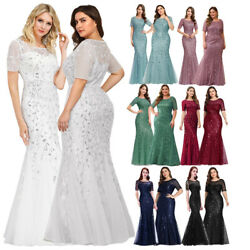 Ever-pretty US White Wedding Mermaid Dresses Formal Evening Sequins Prom Gowns $35.99