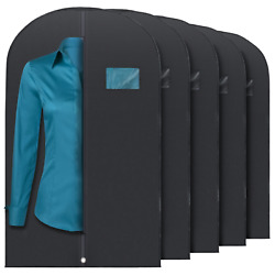 5 Pcs 40-inch Garment Bag for Suit Dress Storage Black with Transparent Window $14.99