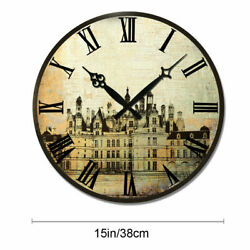 Large 38cm Wooden Wall Clock Retro Living Room Home Clocks Round Decorative Gift
