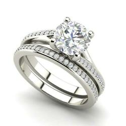 MicroPave Set 2.3 Carat VS2F Round Cut Diamond Engagement Ring White Gold
