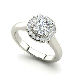 Halo Solitaire 2.65 Carat VS2D Round Cut Diamond Engagement Ring White Gold