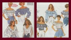 OOP Butterick Sewing Pattern Misses Peasant Blouse Tops You Pick