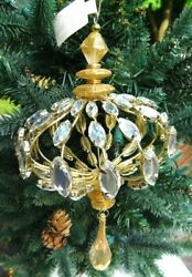 WIDE BLING CHANDELIER 9quot; Long Sparkling Plastic Glenhaven Ornament New wTags $22 $9.11