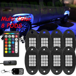 8PCS RGB LED Multi-Color Offroad Rock Lights remotes Control Truck for Jeep