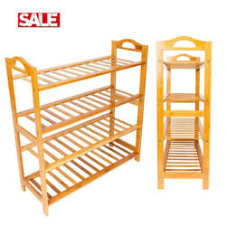 4 Tiers Natural Bamboo Shoe Rack Storage Save Space Shoes Shelf Wooden Organizer