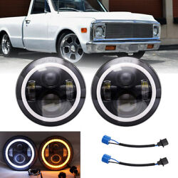 Pair 7inch DRL 200W DOT LED Headlights For Chevy C10 K10 Pickup Camaro G10 G20 $47.99