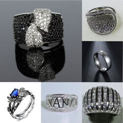 Fashion Vintage 925 Plated Silver Rings Gem Women Jewelry Crystal Retro Gift