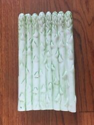 Vintage Asparagus Plate Ceramic Light Green 1970s Small Serving Dish