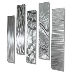Modern Abstract Large Metal Wall Art 5 Panels contemporary Decor Jon Allen $215.00