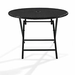 Palm Harbor Wicker Outdoor Folding Table - NA Brown