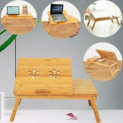 Durable Folding Portable Bamboo Laptop Desk Table Bed Serving Tray w/Drawer $24.90
