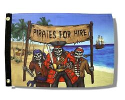 PIRATES FOR HIRE 12quot; x 18quot; Two Sided Polyester Flag Boat Motorcycle $13.95