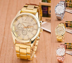 Fashion Women Men Diamond Crystal Stainless Steel Wrist Quartz Watches $4.99