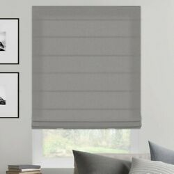 Roman Fabric Shades SelectBlinds Qty 2 gray velour 22.5quot;x 34.5quot; NEW open box $39.00
