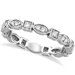 0.36ct Antique Style Diamond Eternity Ring Band Stackable 14k White Gold Women