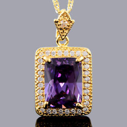 Brass Pendant Square Purple Amethyst Yellow Gold Plated CZ Necklace Chain