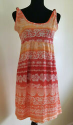 RAYA SUN Womens Girls Sundress Orange & White DRESS Beach Coverup Large Small