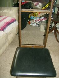 Vtg Butler Suit Valet Dressing Stand Storage Seat Chair LONG ISLAND NY PU
