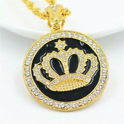 Men's 18K Gold Round Pendant Inlay Rhinestone Necklace Round Crown Franco Chain