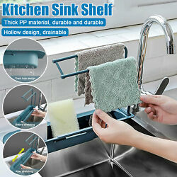 Kitchen Telescopic Sink Rack Shelf Sponge Drain Expandable Storage Basket Holder $10.98