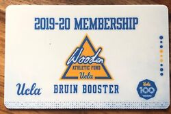 2019 UCLA Bruins Wooden Athletic Fund Bruin Booster Membership Card - Free Games
