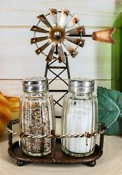 6.5quot;H Rustic Country Farm Windmill Outpost Salt And Pepper Shakers Display Set $24.99