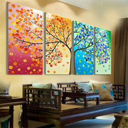 4Pcs Colorful Four Season Tree Wall Canvas Painting Picture Print Home Art $16.39
