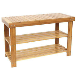 Natural Bamboo Shoe Bench 3 Tier Wooden Rack Organizer Entryway Storage Bedroom