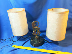 Mid Century Double Lamp Light Table Brass Antelope Gazelle Figural Hollywood $56.32