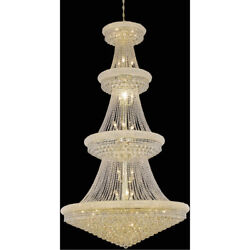 LARGE CRYSTAL CHANDELIER GOLD FOYER DINING ROOM ENTRYWAY LIGHTING 42 LIGHT 86