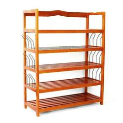 5 Tier Wooden Shoe Rack Natural Wood Storage Shelves Organizer Entryway Hallway