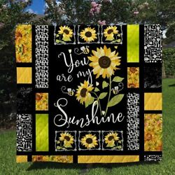 Sunflower You Are My Sunshine Quilt Blanket