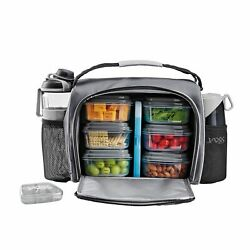 Jaxx FitPak Deluxe Meal Prep Bag w Portion Control Container Set