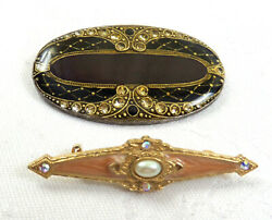 VTG Lot of 2 Art Deco Pins Brooches Enameled With Rhinestones