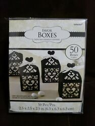 BLACK CUTOUT LANTERN FAVOR BOXES 28 Wedding Baby Shower Party Supplies Loot $8.99
