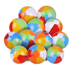 12 PACK Inflatable Beach Ball Pool Party Balls Rainbow Kids Water Fun Play New