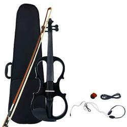 Electric Silent Violin Fiddle 4 4 Size amp; Free Case Bow Rosin Headphone Black $55.49