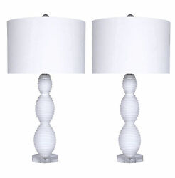 28.75quot; White Glass Table Lamp Set W White Fabric Drum Shades Submit	 Sub $129.99