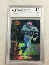 1995 Bowman's Best Barry Sanders Refractor Card BCCG 10 Lions