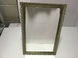 ORNATE FLOWER FRAME GOLD TONE METAL TRAY OR STAND UP VANITY MIRROR 11 x 15