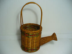 Vintage Wicker Basket old Watering Can Design Style.