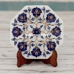 9'' White Marble Serving Plate Lapis Marquetry Inlay Restraurant Decor H5102