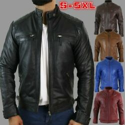 Men Stand Collar Leather Jacket Street Casual Zipper Coat Outerwear Plus Size