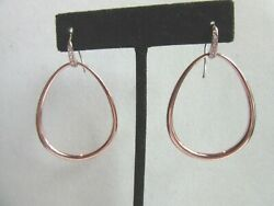 Rose tone  hoop pierced earrings with white crystal accents