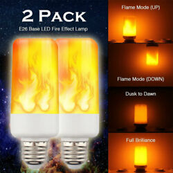 2PACK LED Flame Effect Fire Light Bulb E27 Flickering Lamp Simulated Decorative