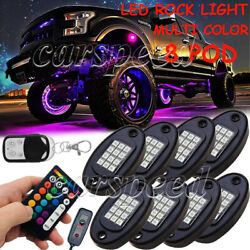 8 Pod LED Multi Color Rock Light Neon Under Glow Lamp Control for Jeep Offroad